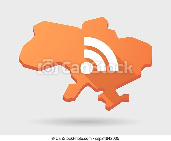 Ukraine green map icon with a RSS sign - csp24842005