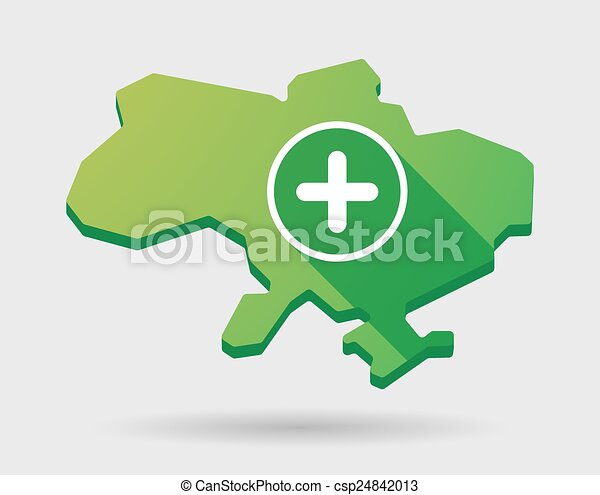 Ukraine green map icon with a sum sign - csp24842013