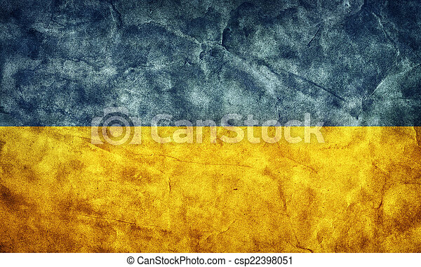 Ukraine grunge flag. Item from my vintage, retro flags collection - csp22398051