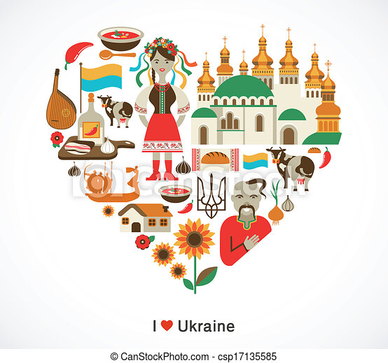 Ukraine Love Heart With Icons And Elements Ukraine Love Heart