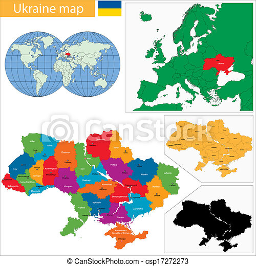 Ukraine map Administrative divisions of ukraine vectors