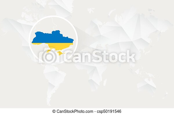 Ukraine map with flag in contour on white polygonal world eps vector ukraine map with flag in contour on white polygonal world map csp50191546 gumiabroncs Gallery