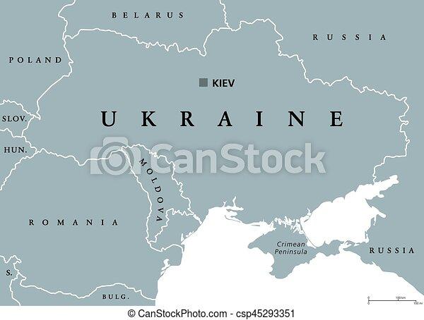 Ukraine Political Map With Capital Kiev National Borders - Ukraine political map