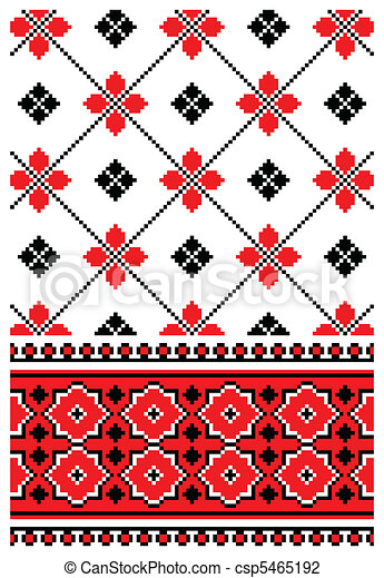 Ukrainian embroidery ornament - csp5465192
