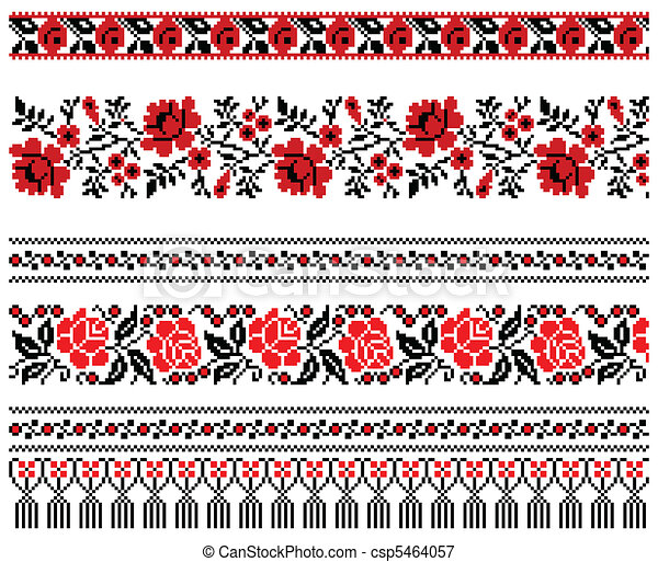 Ukrainian embroidery ornament - csp5464057