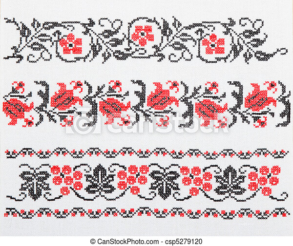 Ukrainian embroidery, towel - csp5279120