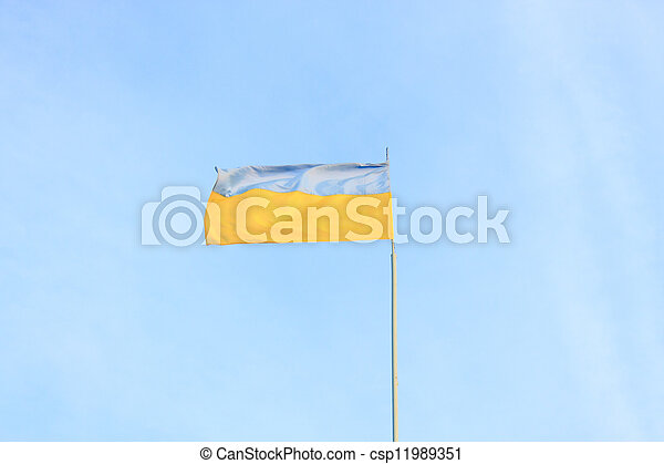 Ukrainian flag on a background of sky - csp11989351