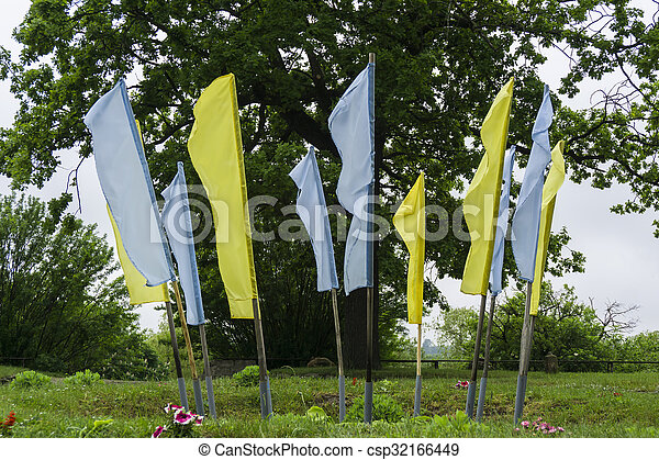 Ukrainian flag on the background of blue sky - csp32166449