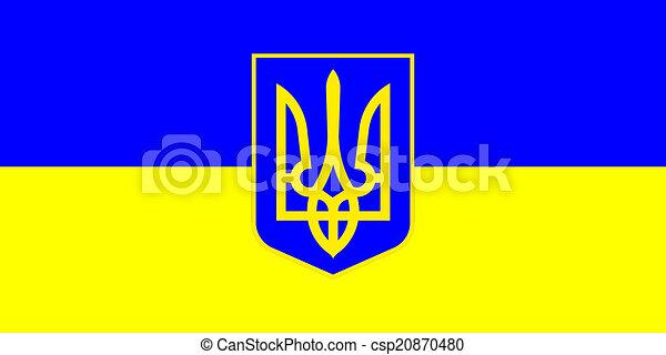 Ukrainian flag with a small emblem - csp20870480
