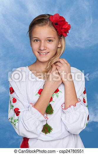 Ukrainian girl against the sky - csp24780551
