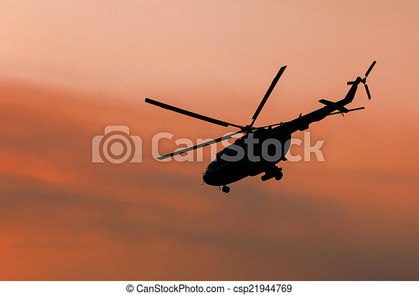Ukrainian military helicopter in flight - csp21944769
