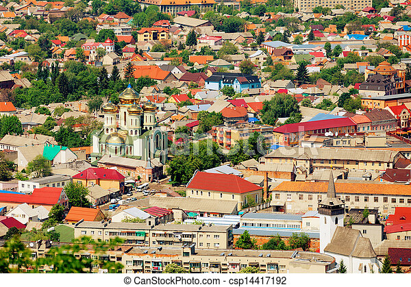 Ukrainian town with the church - csp14417192