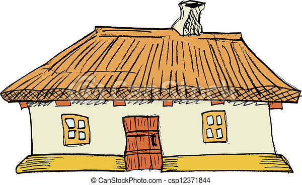 Cartoon Vector Illustration Of Ukrainian Traditional House
