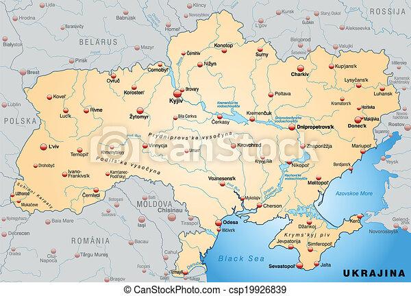 Ukrajna Terkep Narancs Attekintes Pasztell