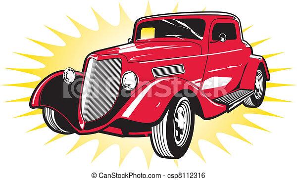 ulica, pręt, czerwony, klasyk - csp8112316