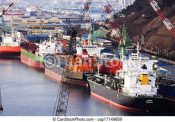 Ulsan shipyard in south korea Industrial Complex - csp17149659