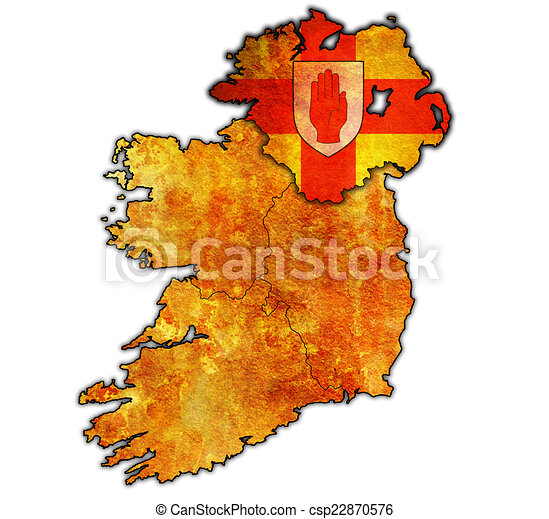 Ulster On Map Of Ireland Ulster With Borders And Flags Of Provinces