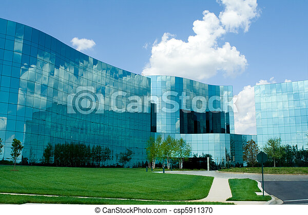 Ultra modern wavy glass office buildings in suburban Maryland, United States. - csp5911370