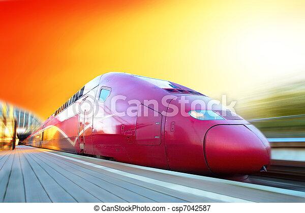 ultra-rapide, mouvement, train, extérieur, barbouillage - csp7042587