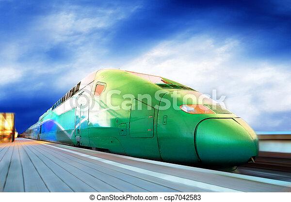 ultra-rapide, mouvement, train, extérieur, barbouillage - csp7042583