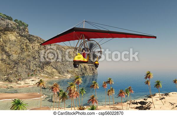 Ultralight trike over a coastal landscape