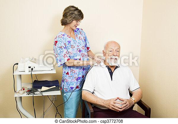 ultraljud, senior, terapi, man - csp3772708