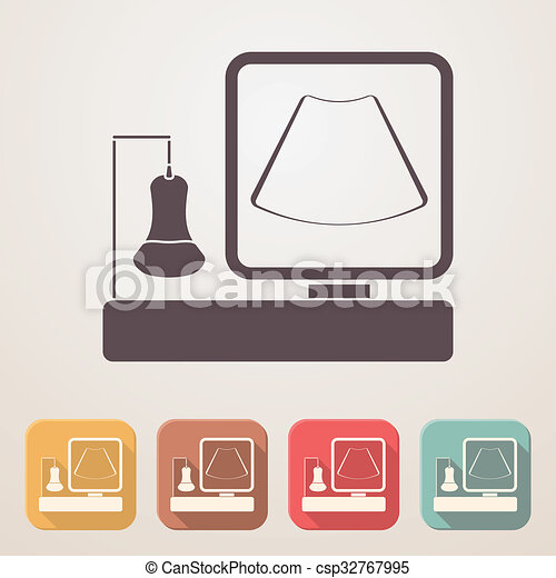 Ultrasound Machine Flat Icon Set In Color Boxes With Shadow