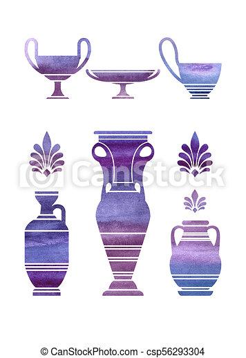 Ultraviolet Watercolor Greek Vases Set