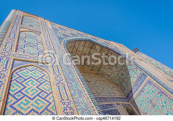 Ulugh Beg Madrasah, Registan, Samarkand - csp46714192