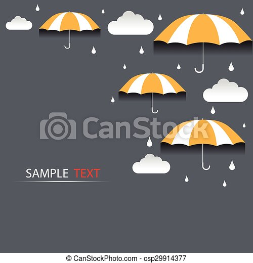 Umbrella and rain background vector - csp29914377