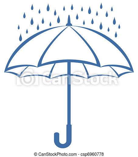 Umbrella and rain, pictogram - csp6960778