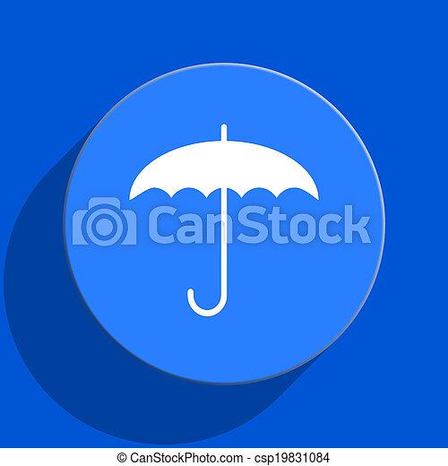 umbrella blue web flat icon - csp19831084