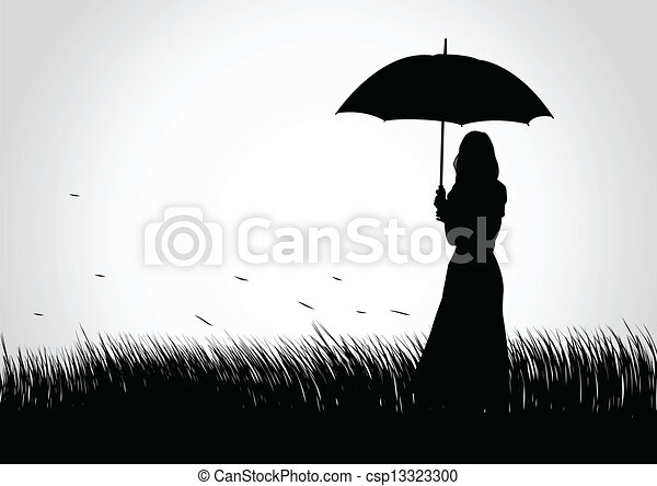 Line Art Umbrella : Umbrella girl. silhouette illustration of a girl with vector