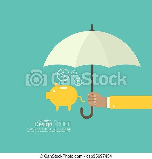 umbrella., mâle, tenant main - csp35697454