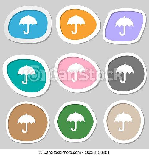 umbrella symbols. Multicolored paper stickers. Vector - csp33158281