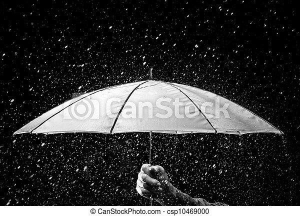 Umbrella under raindrops in black and white - csp10469000