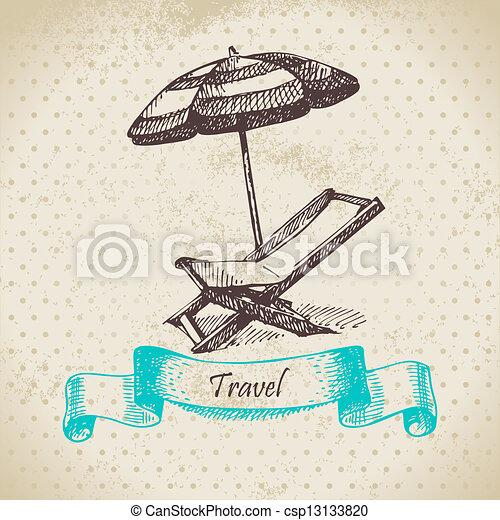 umbrella., vendange, illustration, main, fond, fauteuil, dessiné, plage - csp13133820