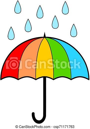 Umbrella With Rain Cartoon Vector Illustration Rainbow Color Umbrella With Rain Cartoon Vector Illustration