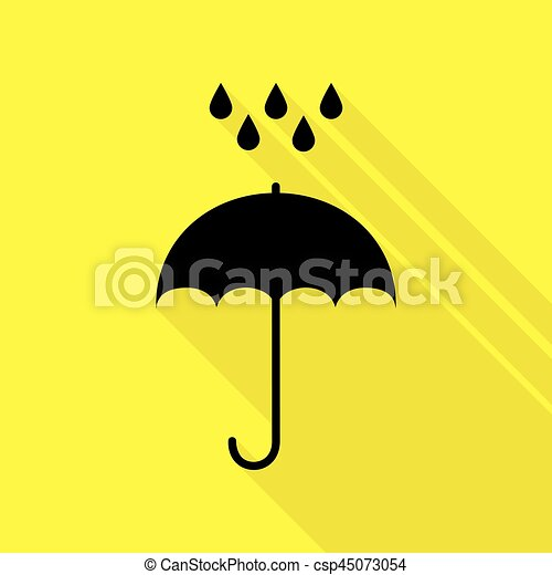 3ca51bcd8 Umbrella With Water Drops. Rain Protection Symbol. Flat Design Style. Black  Icon With Flat Style