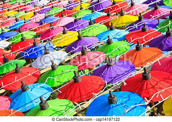 umbrella's, fatto mano, ombrello, asiatico - csp14197122