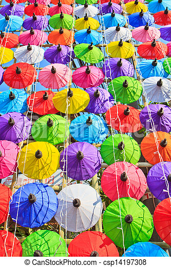 umbrella's, fatto mano, ombrello, asiatico - csp14197308