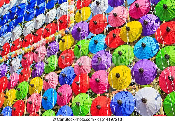 umbrella's, fatto mano, ombrello, asiatico - csp14197218