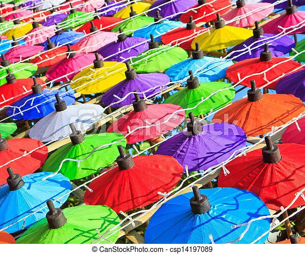 umbrella's, fatto mano, ombrello, asiatico - csp14197089