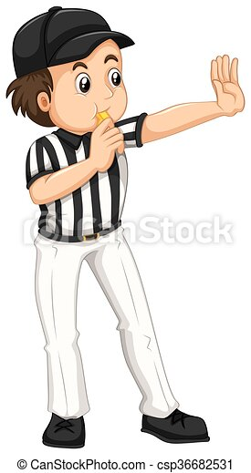 umpire in striped uniform blowing whistle illustration rh canstockphoto com umpire clipart black and white umpire clipart black and white