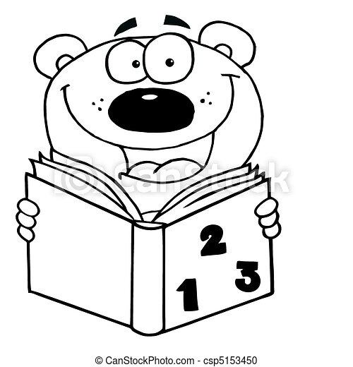 Umrissen, buch, lesende , bär, glücklich. Schule, färbung,... Vektor ...