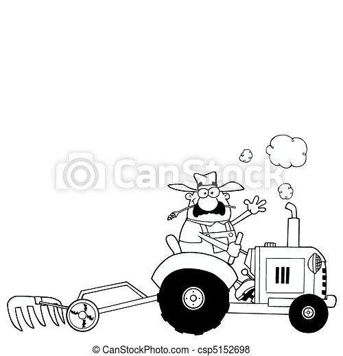 Umrissen, fahren, traktor, landwirt. Färbung, bebauen,... Vektor ...