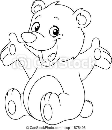 Umrissen, glücklich, bär, teddy. Färbung, teddy, umrissen,... EPS ...