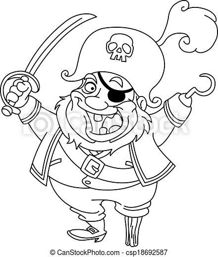 Umrissen, pirat. Färbung, umrissen, abbildung, karikatur,... Vektor ...