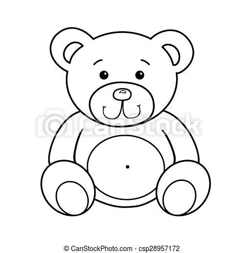 Umrissen, spielzeug, bär. Spielzeug, illustration.,... Vektoren ...