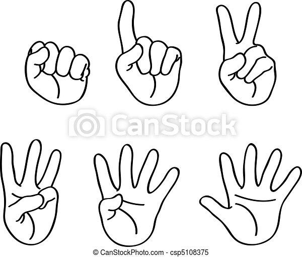 Umrissene zählende Finger - csp5108375